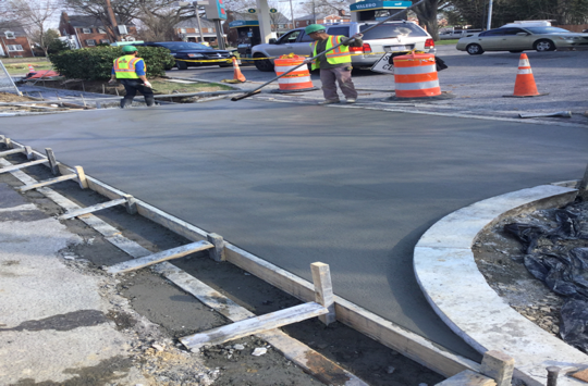 """PCC driveway 7"""" was poured at Sta.63 + 50 RT"""