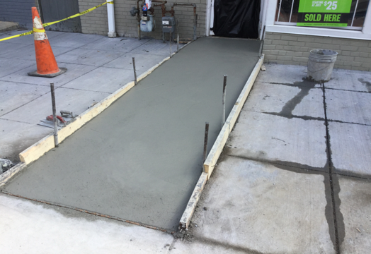 ADA ramp been finished from Sta. 17+45RT to Sta. 17+50RT