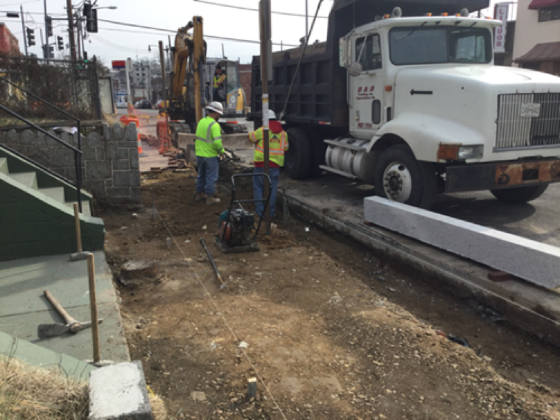 Excavation of existing sidewalk and curb from station 33+42LT to 34+30LT