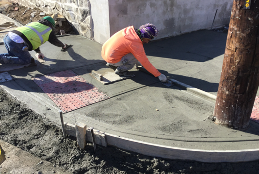 Contractor finishing PCC bicycle/wheelchair ramps from Sta. 40+87LT to Sta, 141+84LT