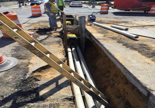 "F&I 6-4"""" schedule 40 rigid PVC conduit (duct bank) M-16 to M-13 streetlight installation"