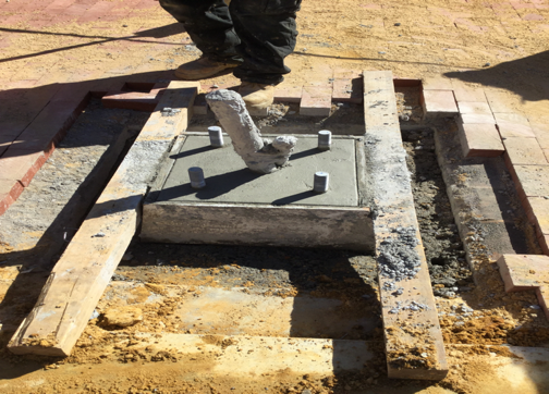 """Concrete was poured F & I 15"""" B.C streetlight foundation at L63-PP"""