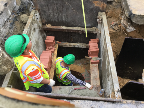 Brick being laid for rebuilding of existing manhole at Sta. 58+84RT