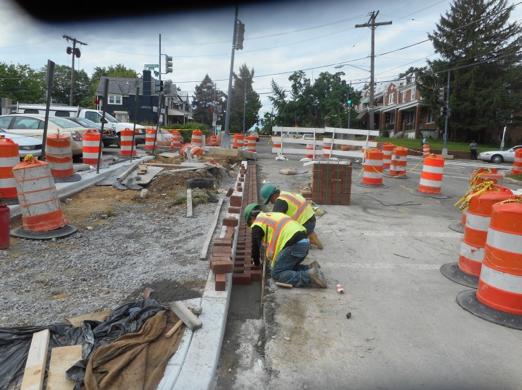 Capital Paving installed brick gutter E/S of 2nd Street & Kennedy