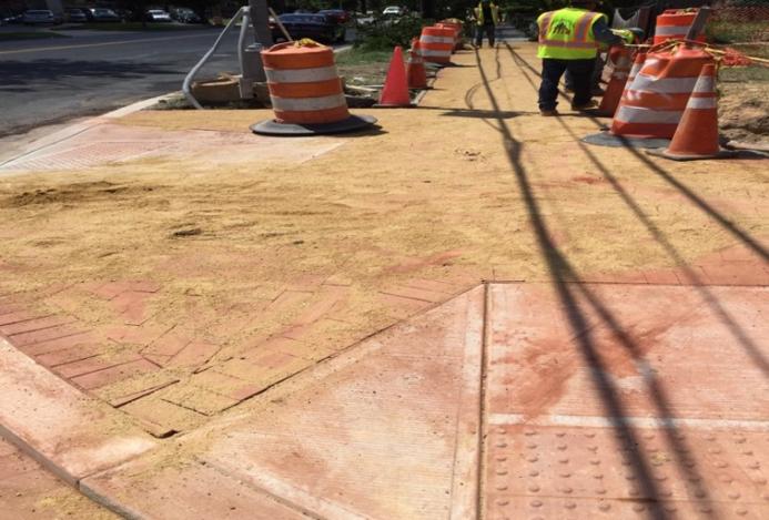 Installation of brick sidewalk from Sta.508+20LT to Sta.508+75LT