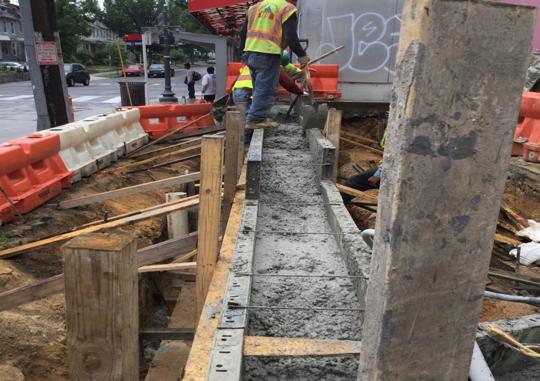 Concrete pour retaining Wall Illinois Ave & Kennedy Street