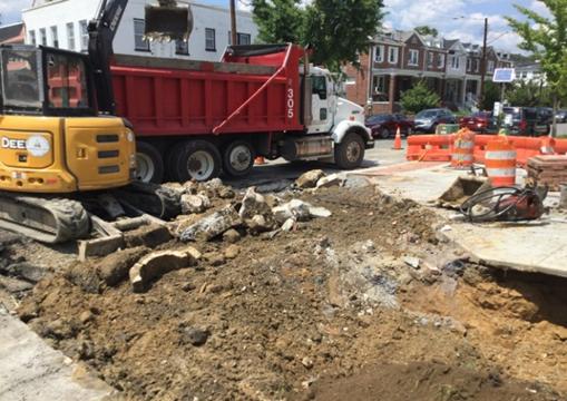 Excavation for Bioretention Curb Extension BR-C8