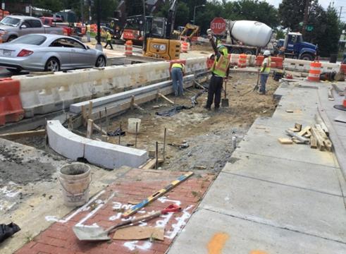 "Installation 8 X   12"" Granite Curb at Bioretention Extension BR-C8"
