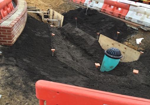 Installation Under-drain 10 Inch @ Bioretention Area BP-03