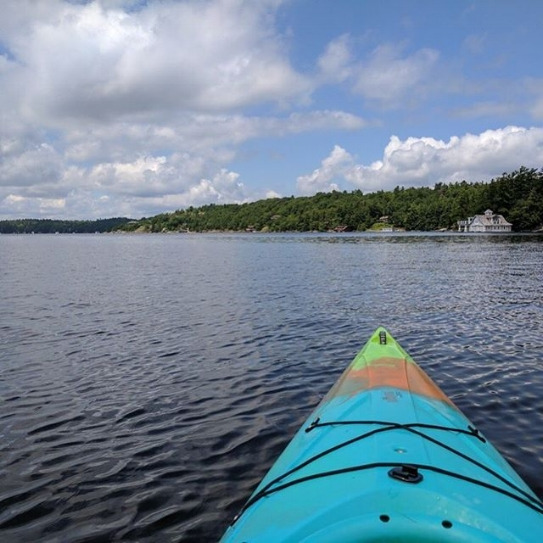 After a long meeting, there's nothing like taking a break and going for a paddle in your kayak in beautiful Hunstville, Ontario (Muskoka)