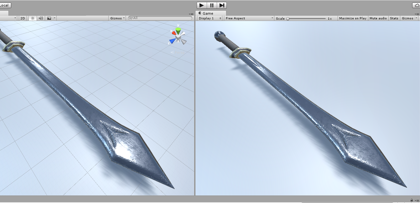 First pass on the sword textures in Unity.
