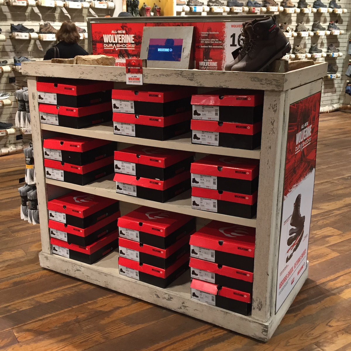 Wolverine Footwear Gondola   AXIS was selected to collaborate on an interactive gondola unit to increase awareness about new innovative Wolverine footwear at select Bass Pro Shops.