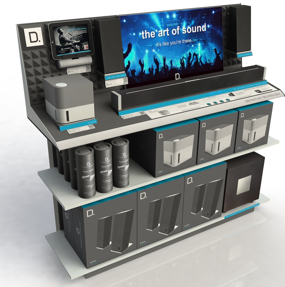 Magnolia Display   Definitive Technology, a division of Sound United, partnered with AXIS to design and produce an interactive end cap display that demonstrated the sound quality of their speakers.