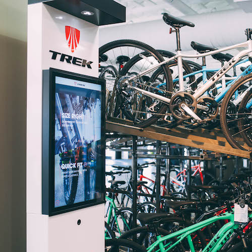 Trek Precision Fit Workstation   Trek, a leading producer of bikes and accessories, partnered with Axis Display Group to develop a dynamic selling tool to aid shoppers in their bike selection process, and support the many elements of Trek's overall Precision Fit Process.