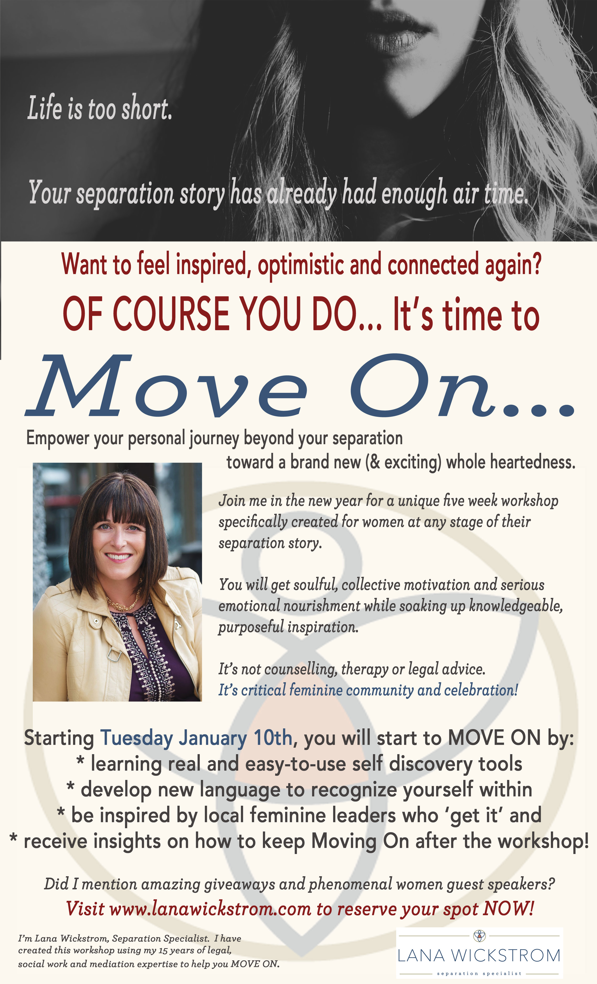 Learn more about Move On, a five-week workshop for women in Saskatchewan CANADA at any stage of their separation or divorce story who are looking for optimism again.