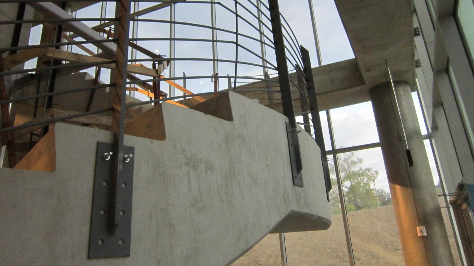 Railings being installed.