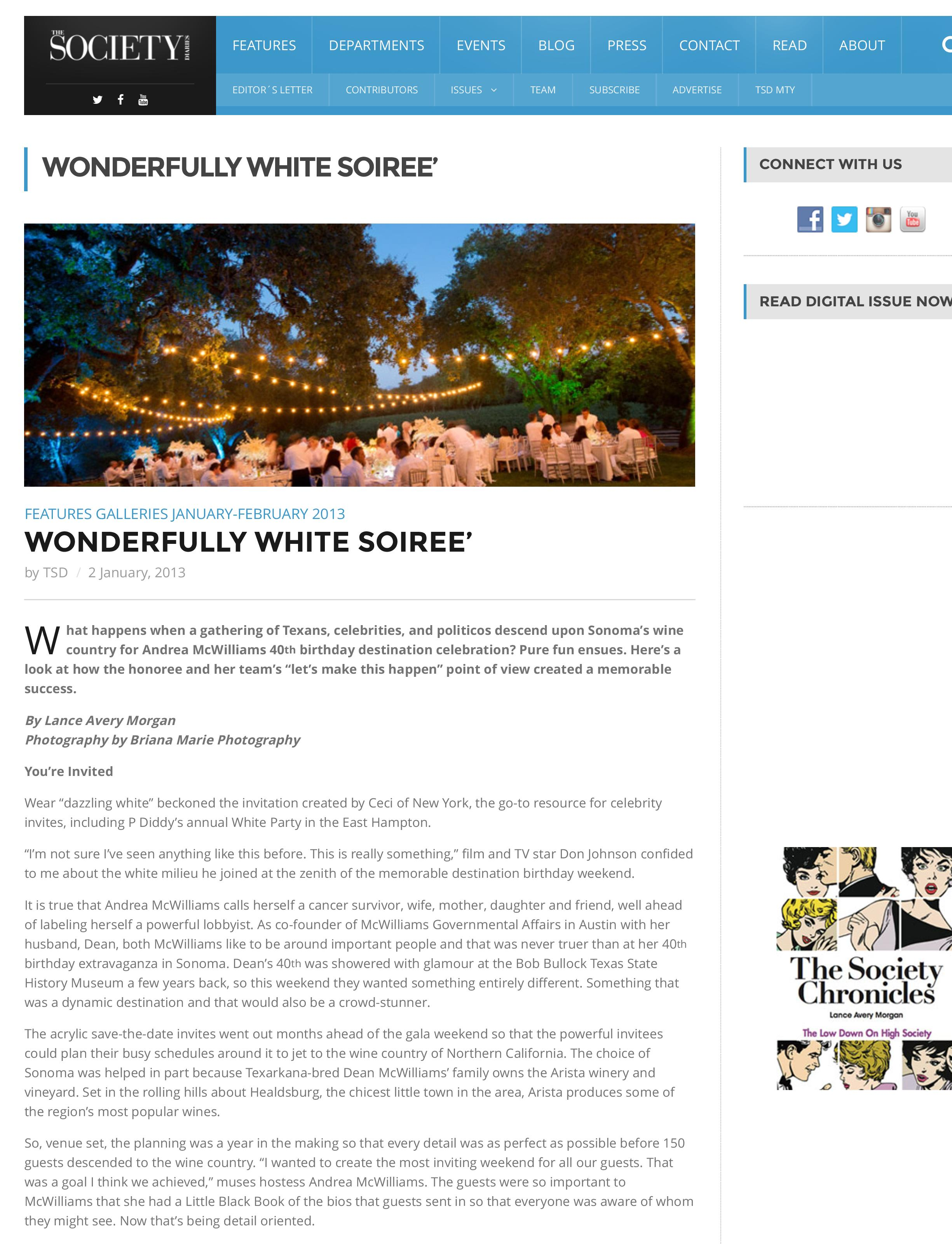 Wonderfully White Soiree - Society Diaries