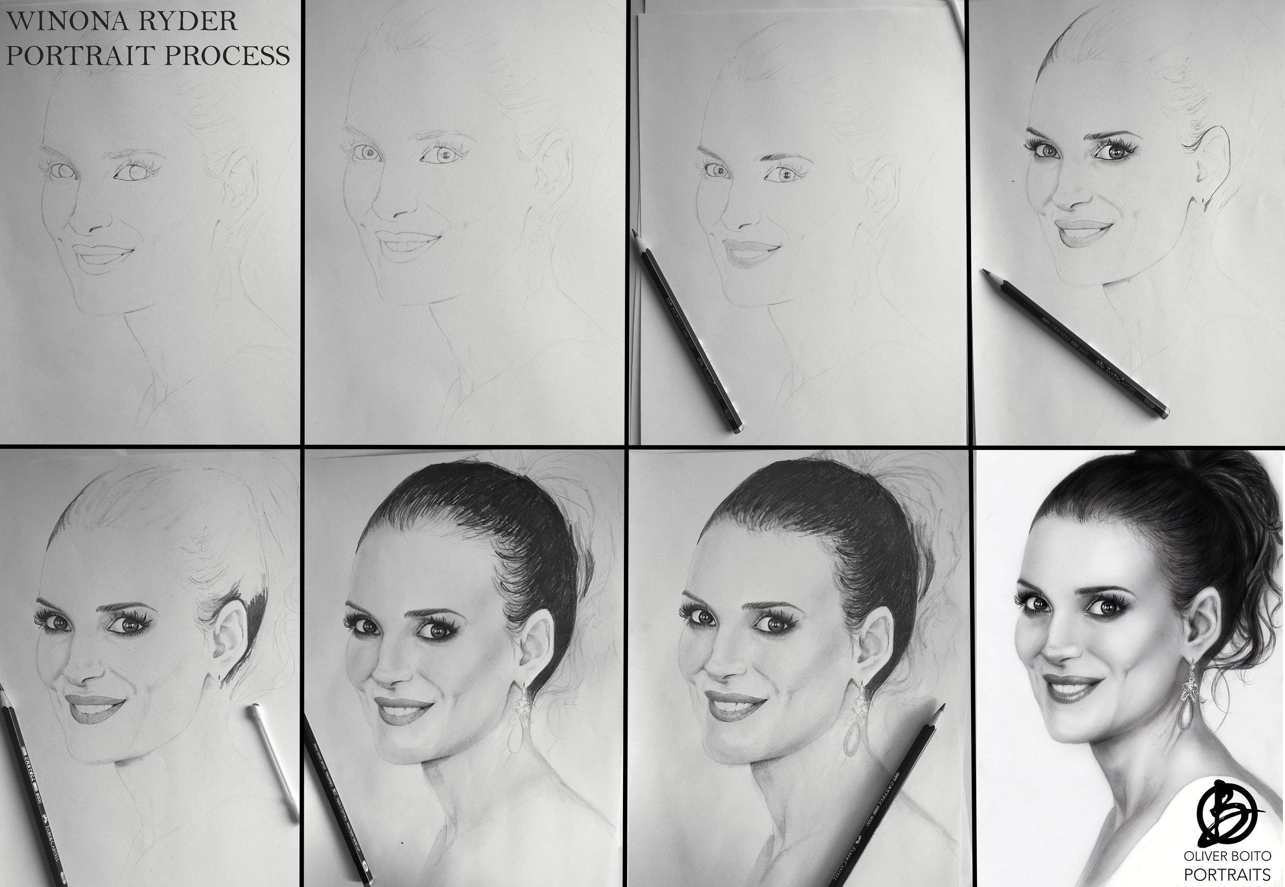 Winona Ryder portrait process