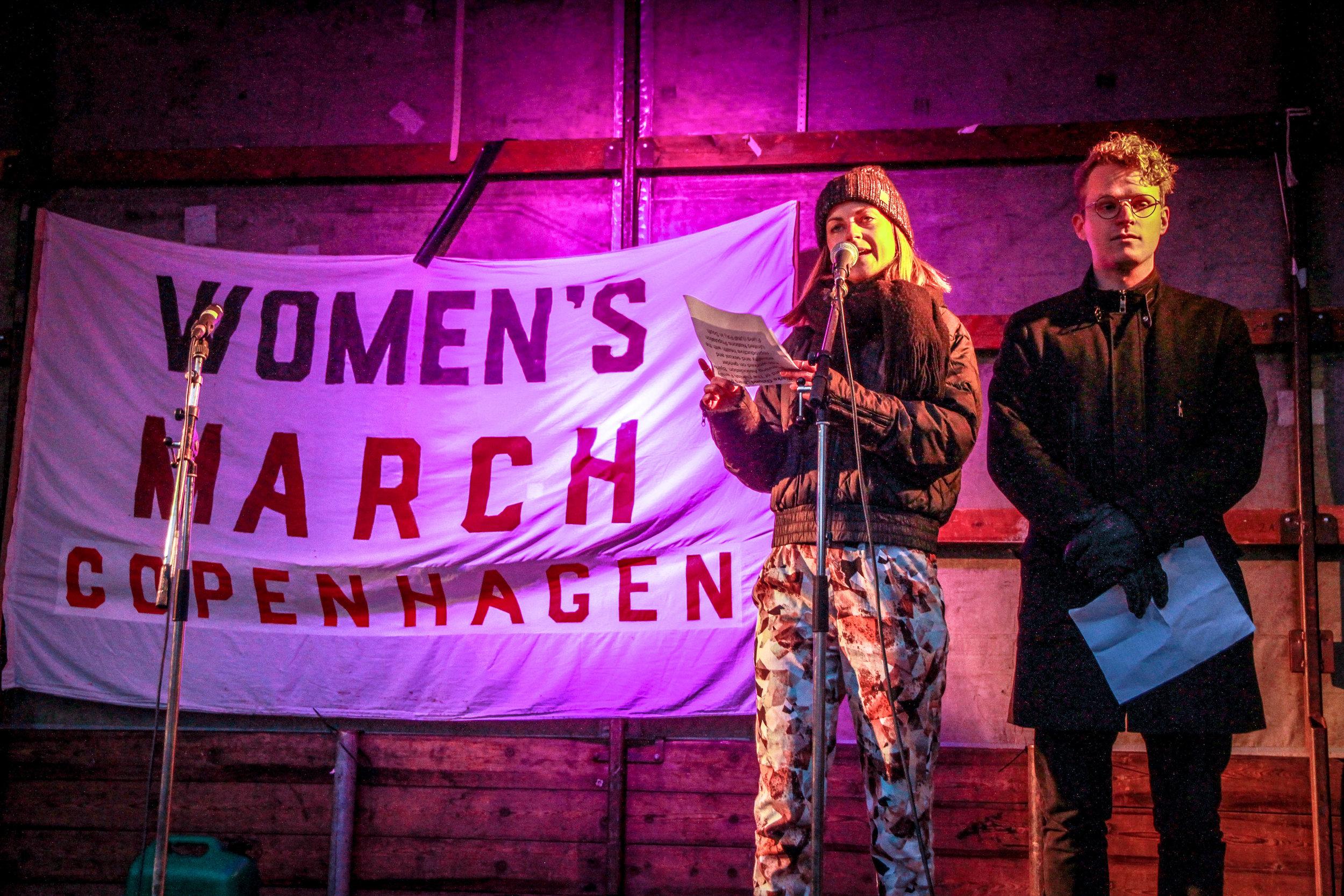 Piv La Cour (projektleder MandSnak) til Women's March Copenhagen, 2017