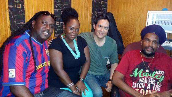 "Left to Right: Seion Gomez, Shanaqua, Mark Loquan, Junior ""Ibo"" Joseph in the studio"