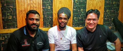 "Left to Right: Amrit Samaroo, Junior ""Ibo"" Joseph, Mark Loquan in the studio"