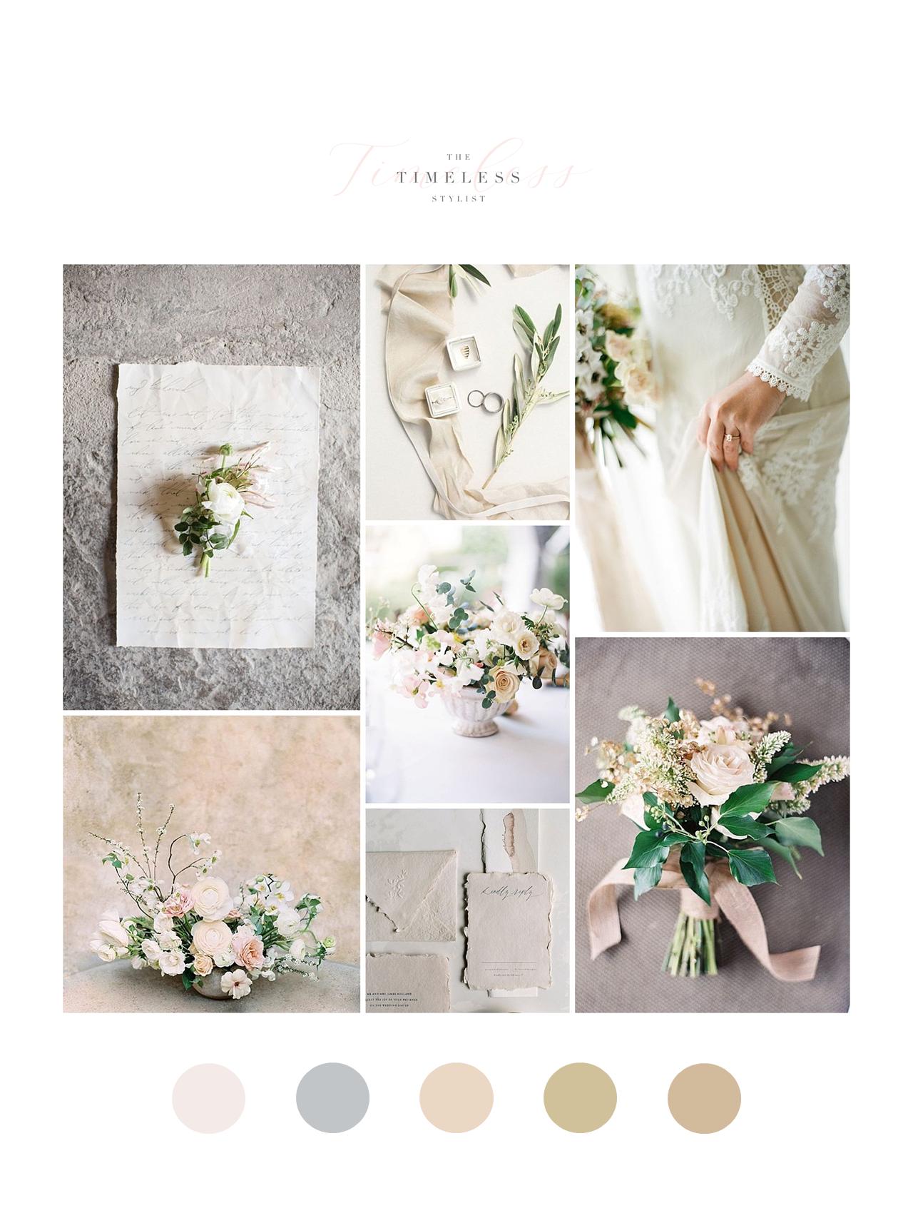 The Timeless Stylist-Fine Art Neutral Palette Wedding Design-Wedding Moodboard