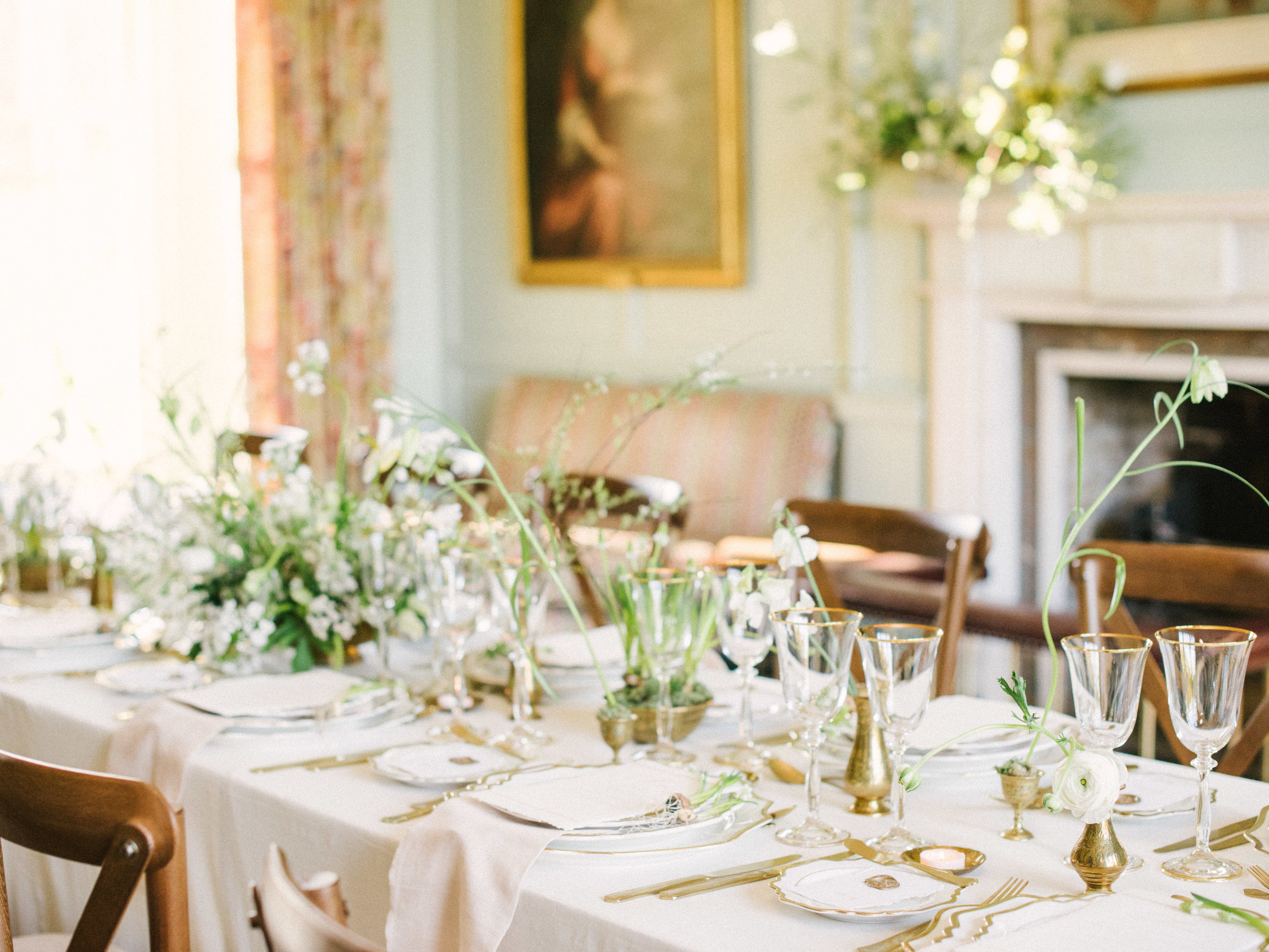 The Timeless Stylist-Elegant Wedding and Event Styling-Spring Design Table Decor-Brass Vases