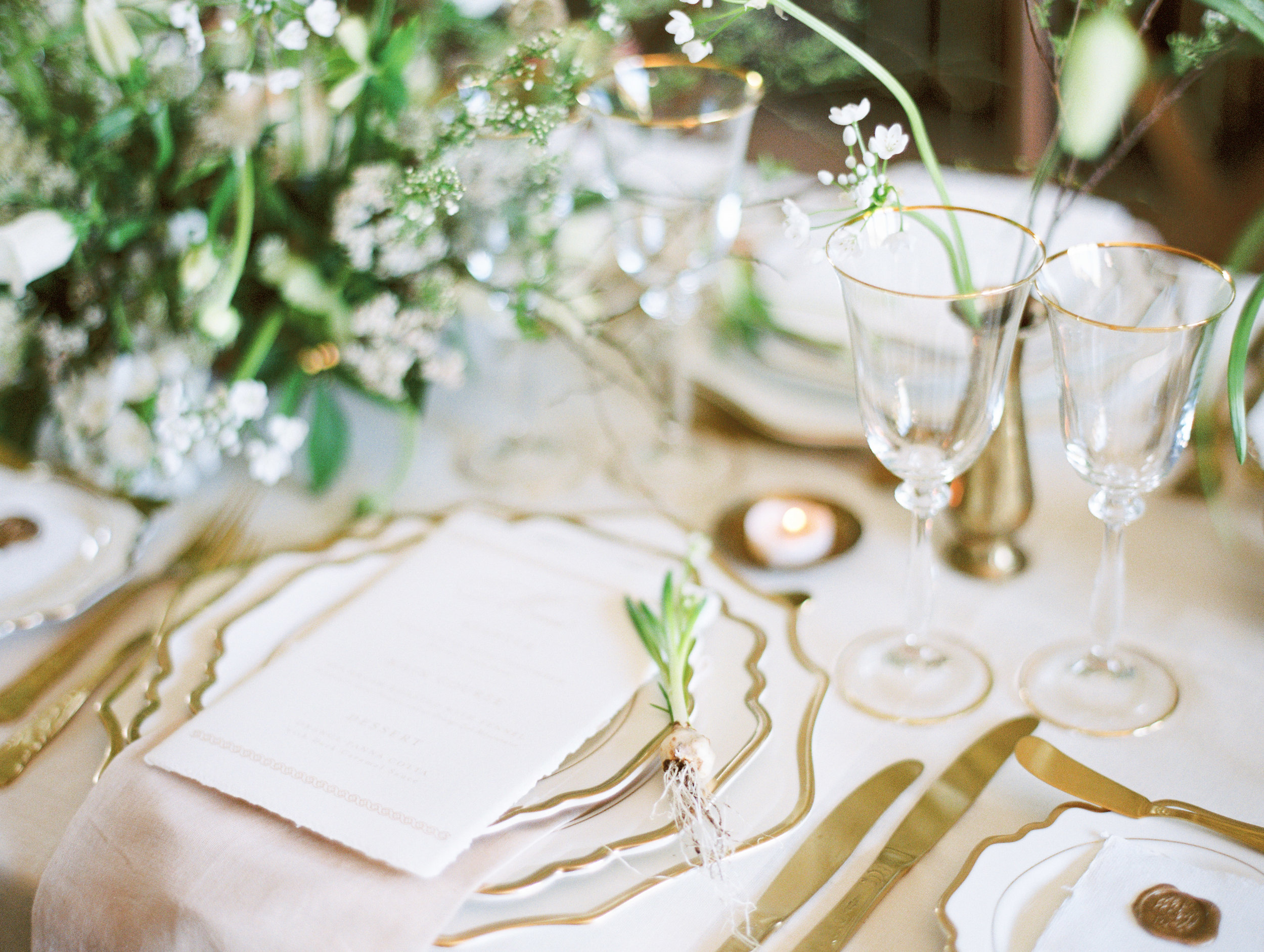 The Timeless Stylist-Elegant Wedding and Event Styling-Spring Design Table Decor-Gold Cutlery