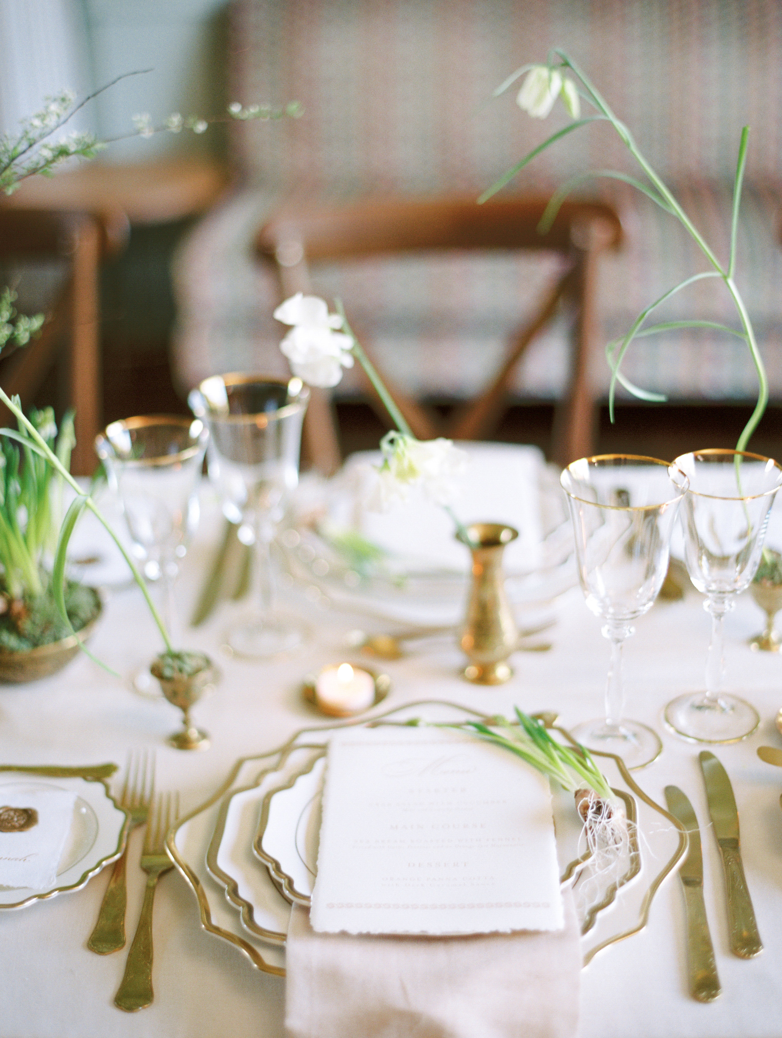 The Timeless Stylist-Elegant Wedding and Event Styling-Spring Design Wedding Tables-Neutral Palette with Brass