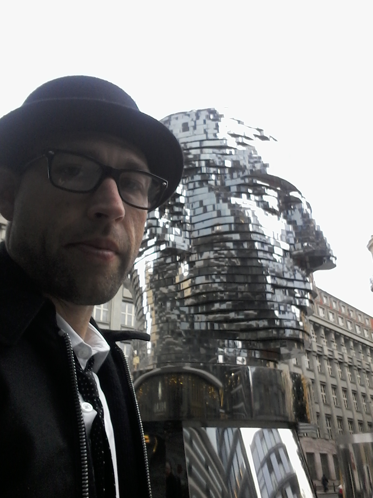 Speaking of old friends, here I am, hanging out with Giant Kafka Head, Central Prague.