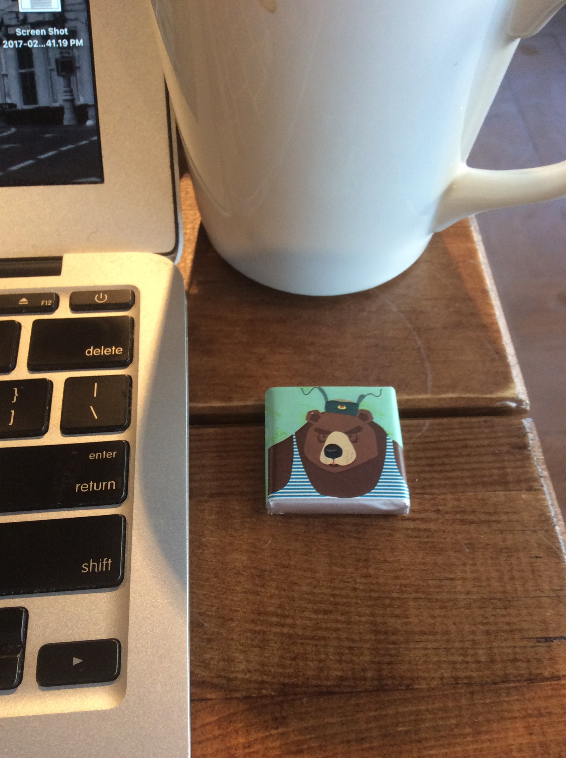 Among the hard-earned spoils of Defender of the Fatherland Day: this adorably packaged chocolate from Coffee Academy.