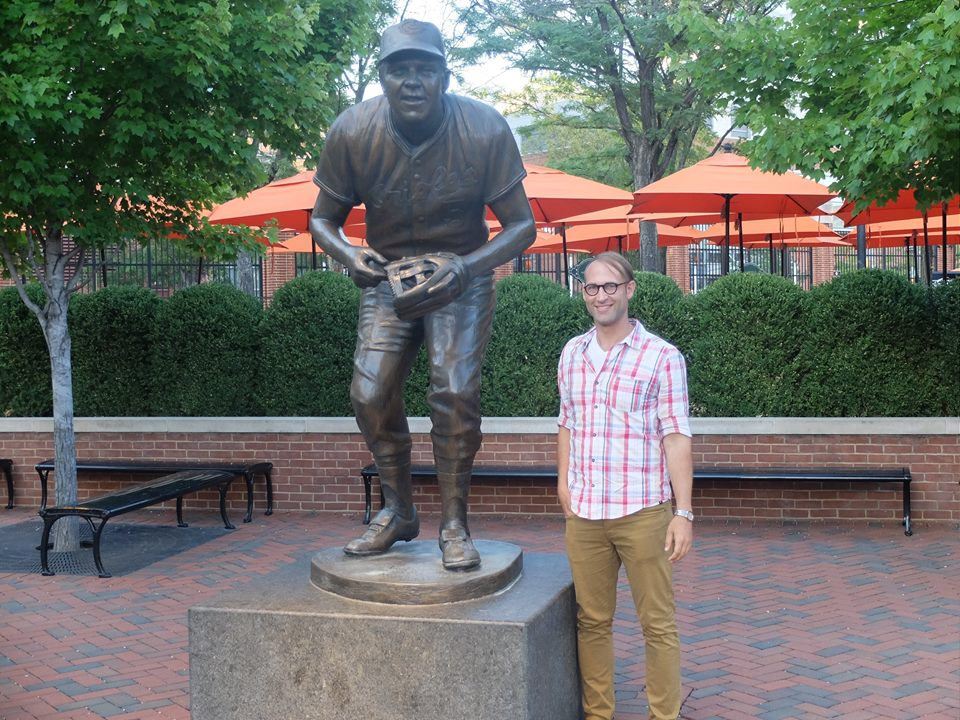Next to a statue of my namesake last summer in Baltimore, Maryland.