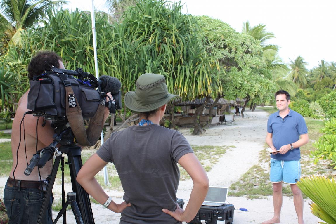 Jonathan Samuels reporting on climate change from Kiribati
