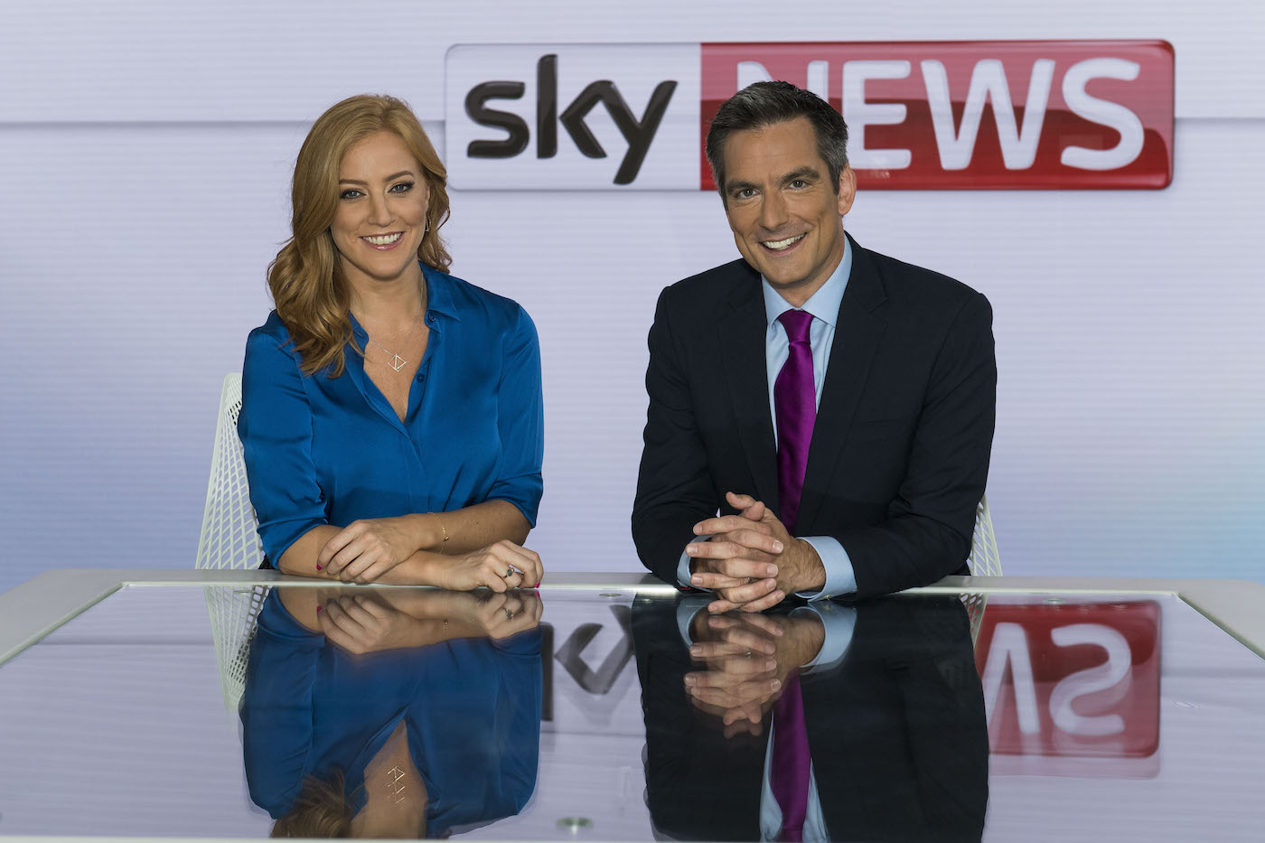 Jonathan Samuels and Sarah-Jane Mee at Sky News