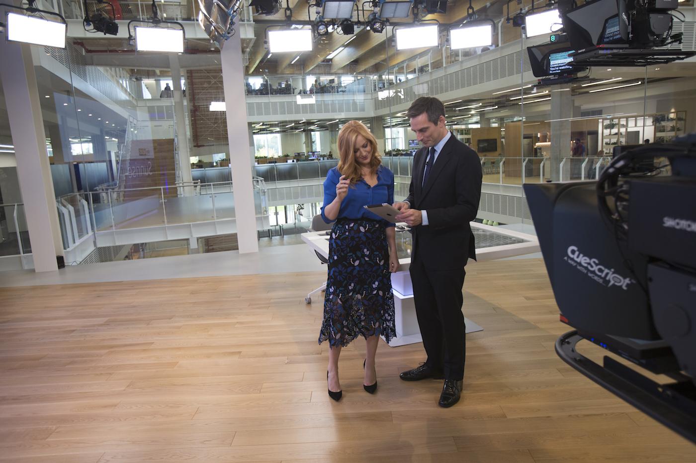 Jonathan and Sarah-Jane Mee getting to know the new Sky News studio.