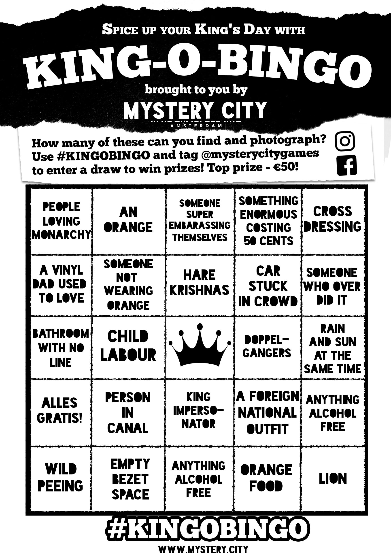 mystery city king o bingo printable