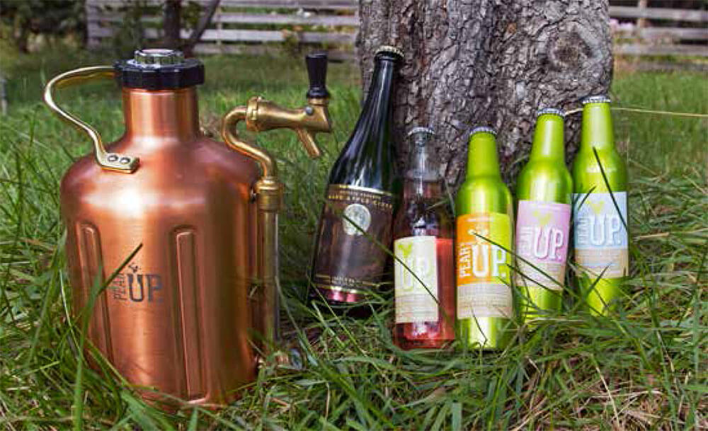 A GrowlerWerks Pear Up growler and a sampling of Pear Up products. Photo by Michelle Naranjo, Foothills Magazine