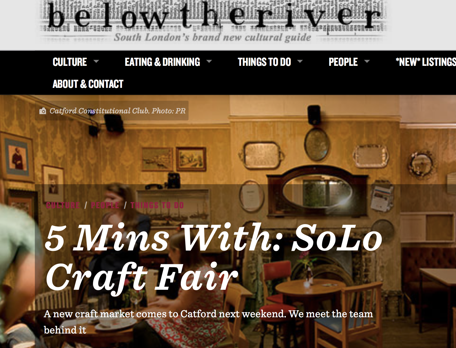 5 Mins with SoLo Craft Fair - Below the River