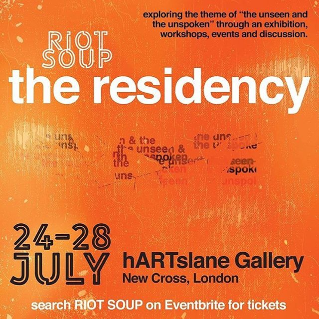 NEXT WEEK!! @riotsoup 'The Residency' at @h.artslane .. the exhibition of emerging art Collective Riot Soup, 12 women artists of colour will be exhibiting pieces in a range of mediums from photography to collage to paint, responding to the theme 'The Unseen and The Unspoken'. Open every day from 11am 24-28th (check out their insta for more information).
