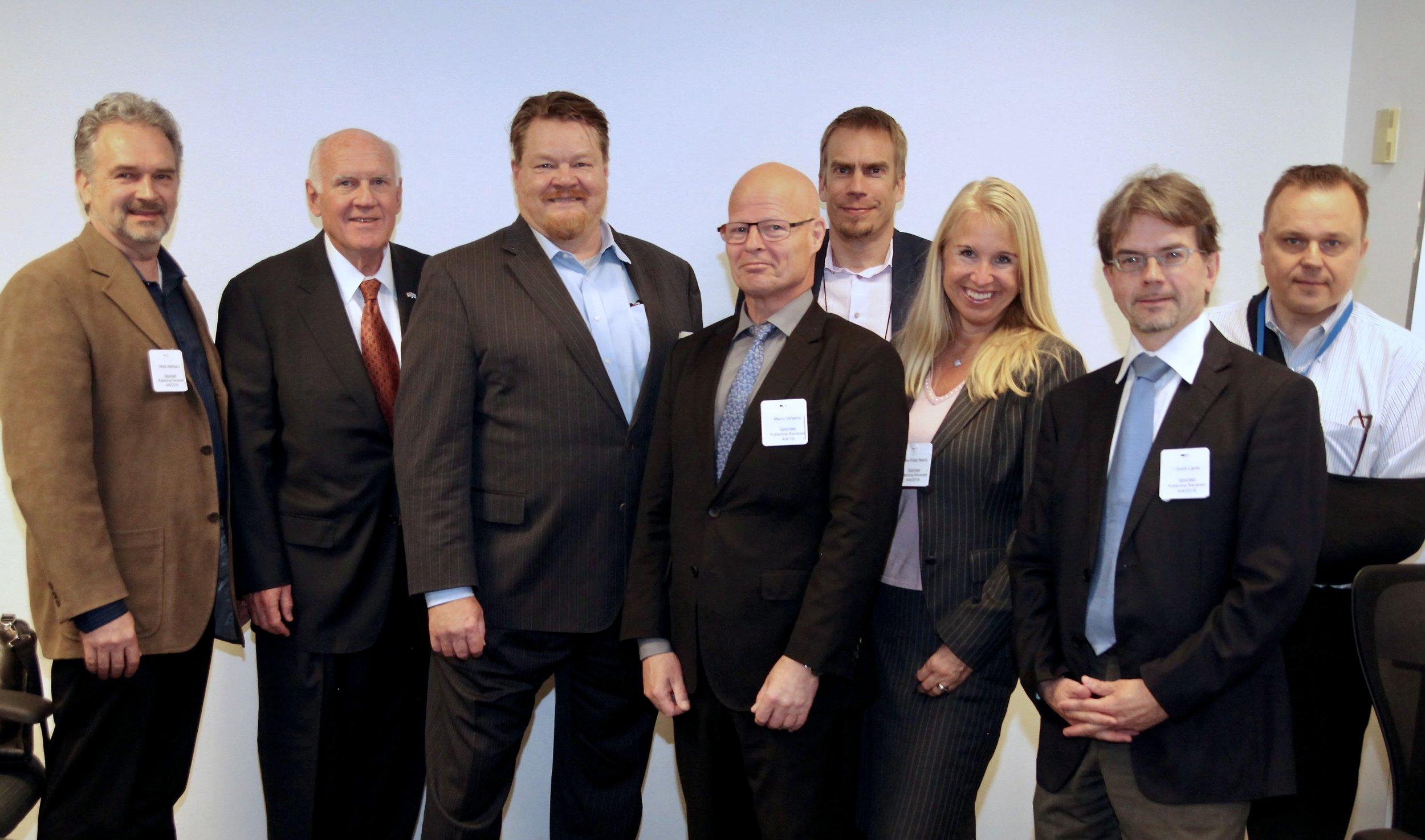 HE CG Manu Virtamo (in the middle) with the FABG Board of Directors - (from left) Chairman Vesa Jäämuru, Ken Niesman, Jukka Salonen, Kim Aaltonen, Mia-Riitta Niemi, Jouni Laine and Mika Hirvilampi -