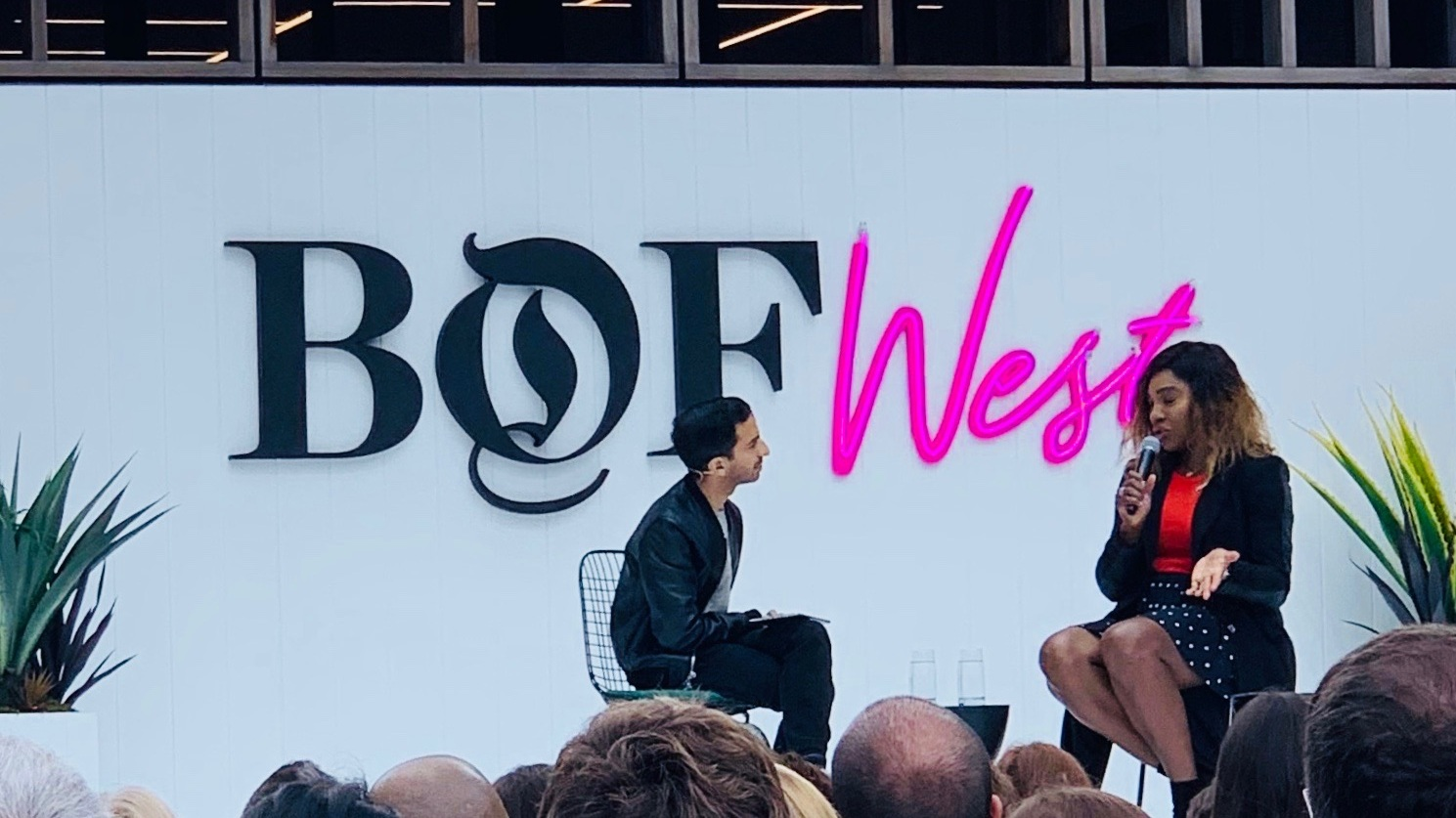 Serena speaking with BOF founder Imran Amed at the BOF West summit