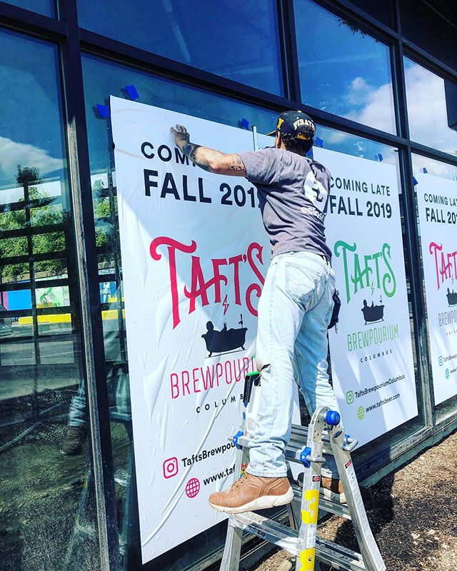 @taftsbrewpouriumcolumbus COMING SOON 👏🏼👏🏼👏🏼 This has been a real fun one to work on alongside @archall.architects @onetrickponybrand and @comptonconstruction . @eclipsecorp coming through with the vinyl install today 🎯 Can't wait to show y'all what we've been up to 🙇🏼♀️🙇🏻♂️