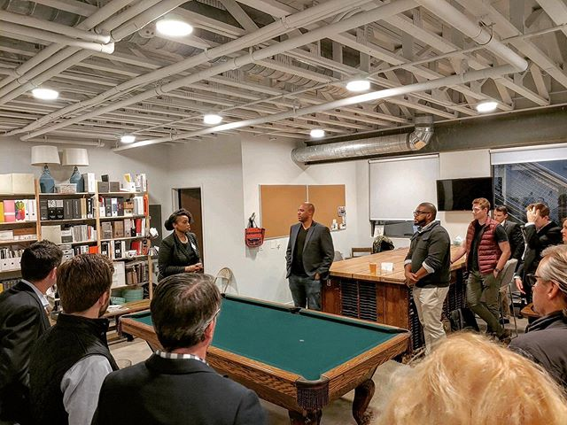 We had an impromptu gathering in our beloved office space last night with @shaylafavor speaking. It was nice to have some folks enjoying our space and it's really got us thinking about future uses!  I mean...who doesn't want a pool table in the middle of their private event?! 🧐🤔 #sidecar #alwaysscheming #columbusevents #eastpublic