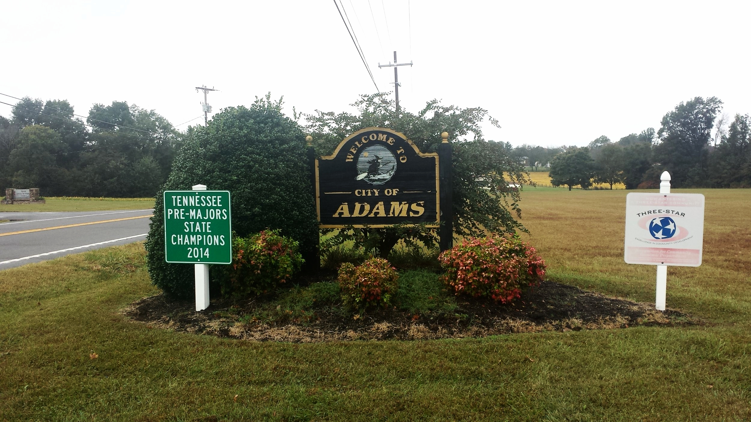 Entrance to the town of Adams, TN