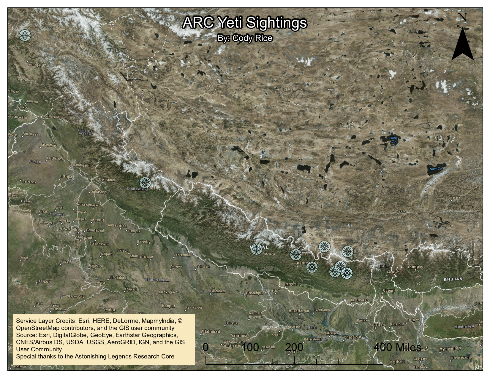 Map showing locations of featured Yeti sightings, by ARC member Cody Rice