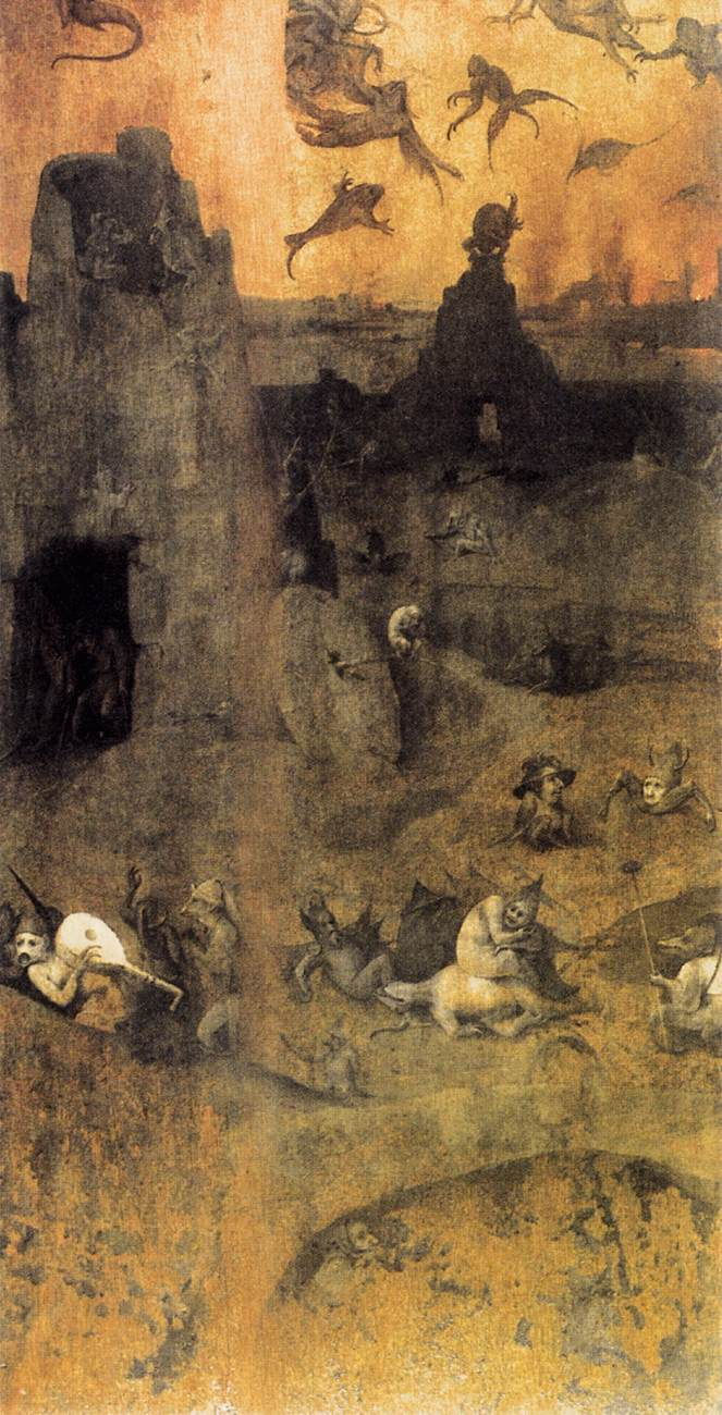 From Wikipedia:  T  he Fall of the Rebel Angels  by  Hieronymus Bosch  is based on  Genesis 6:1-4 .  Fragment (inner-left wing) of a triptych.