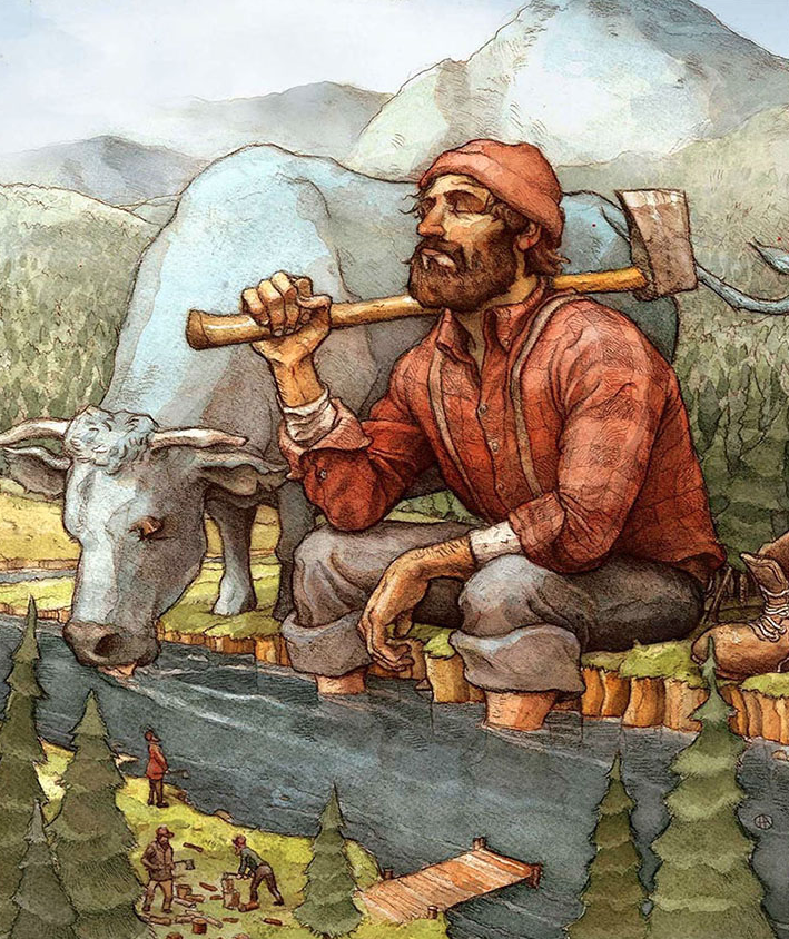 "Illustration of Paul Bunyan and his blue ox ""Babe"" by Astonishing Legends' resident artist Chad Lewis.  Go to  www.chadlewisart.com  to see more of Chad's fantastic artwork, or commission him to create an original piece!  Image copyright Chad Lewis Art 2016."