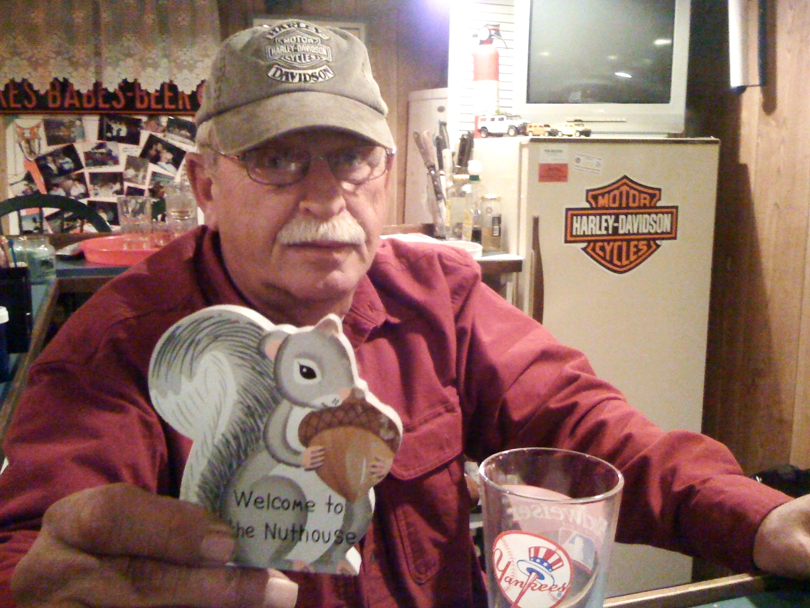 "Scott's good friend and neighbor Don, seen here in his basement ""Rattlesnake Bar"""