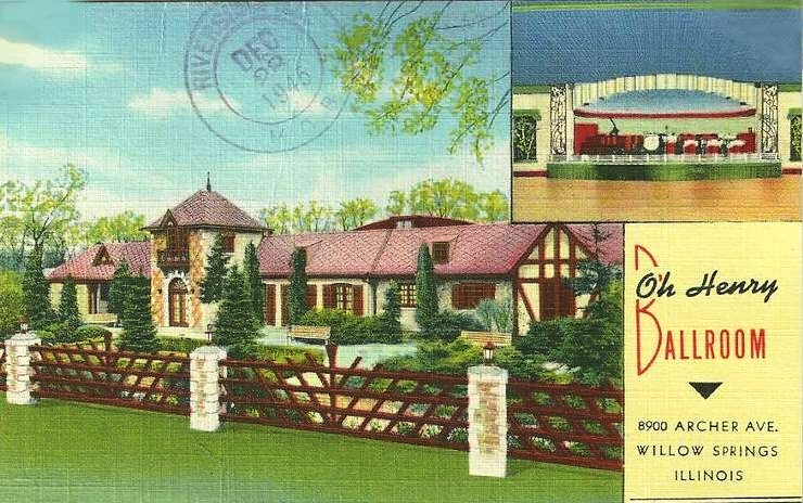 Postcard of the old Oh Henry Ballroom, postmarked December 28, 1945, before it became the Willowbrook Ballroom & Banquets.
