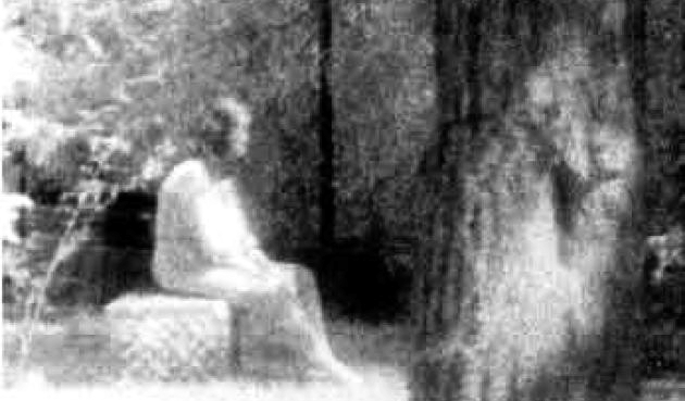"Infrared photo of the ""Madonna of Bachelor's Grove"" taken by clairvoyant Judy Huff-Felz on August 10, 1991.  From  chicagohauntings.com"